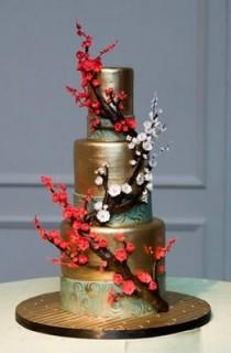 wedding photo - Goldene Branchen Kuchen