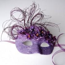 wedding photo - Purple Floral Flurry- Fairy, Mardi Gras, Venetian, Masquerade Mask