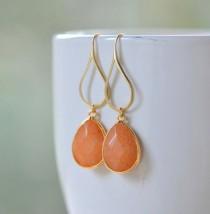 wedding photo - Orange Teardrop Dangle Earrings. Orange Drop Earrings. Large Gold Dangle Earrings. Holiday Jewelry. Gift For Her. Jewelry Present
