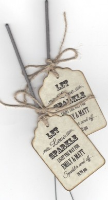 wedding photo - 50 Wunderkerzen Wedding Favor Tags / Wunderkerze senden Off Tags / Let Love Sparkle / Vintage Style