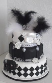 "wedding photo - Черно-Белый Бал-Маскарад "" Свадебный Торт""."