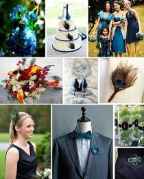 wedding photo - Peacock / blaue Hochzeits-Inspiration Vorstand