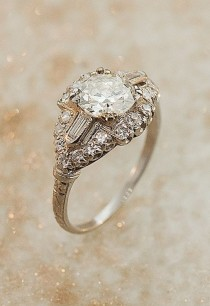 wedding photo - Anillo de diamante de Deco Arte Antiguo