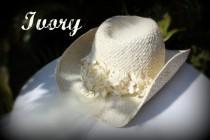 wedding photo - Ivory Cowgirl-Hut Hut mit Schleier Braut angebaute-Western-Hochzeits-Schleier
