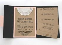 wedding photo - Faire-part de mariage rustique - Invitation de pli de poche set avec 4 inserts - Tableau Design - Set de démonstration