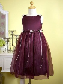 wedding photo - Burgundy Organza Flower Girl Dress