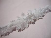 wedding photo - Garter, Seed Bead/Sequin Leaves And Pearl Motif Garter With Sheer Ruffle Elastic