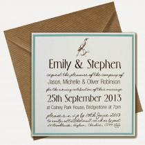 wedding photo - Knots and Kisses Wedding Stationery: Rustic Blue & White Wedding Stationery With Bird Print