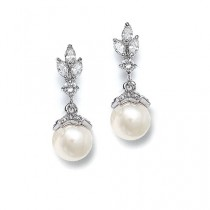 wedding photo - Marquis Drop Pearl Earrings