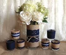 wedding photo - navy blue rustic burlap and lace covered vase and 6 tea candles, wedding, bridal shower, birthday, home decor
