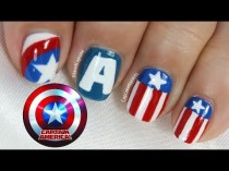 wedding photo - Captain America Nail Art