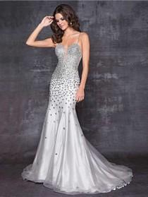 Silver Grey Rhinestone Beaded Sheer Inset Low Back Mermaid Dress