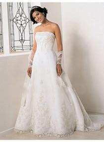 wedding photo - A-line Strapless Lace/Appliques Cathedral Train Elegant Natural Lace Wedding Dresses WE2646