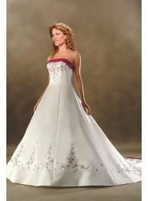 wedding photo - A-line Strapless Embroidery Empire Sweep-train Floor-length Wedding Dresses WE1633