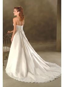 wedding photo - A-line Strapless Embroidery Empire Sweep-train Floor-length Wedding Dresses WE1630