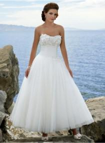 wedding photo - A-line Sweetheart Strapless Empire Ankle-length Wedding Dresses WE1641