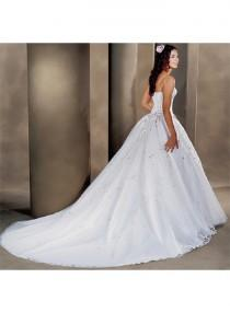 wedding photo - A-line Sweetheart Strapless Ball Gown Empire Sweep-train Wedding Dresses WE1640