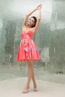 wedding photo - Find Your Unrivalled Sheath Strapless Short Mini Satin Peach Cocktail Dress With Beading(Zj5474) Here ,Wanweier Cocktail Dresses - A perfect moment for you.
