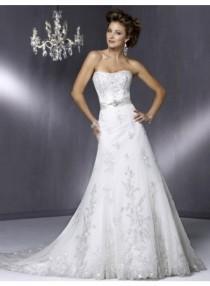 wedding photo - Empire A-line Strapless BrushTrain Lace Wedding Dress WE4089