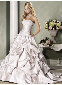 wedding photo - A-line Strapless Lace Chapel Train Satin Wedding Dresses WE4087
