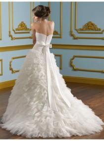 wedding photo - A-line Strapless Ruching Brush Train Organza Wedding Dresses WE4045