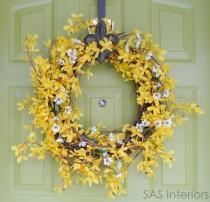wedding photo - forsythia & daisy wreath