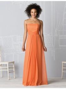 wedding photo - A-line Strapless Sleeveless Ruching Empire Floor-length Chiffon Celebrity Dresses WE0963