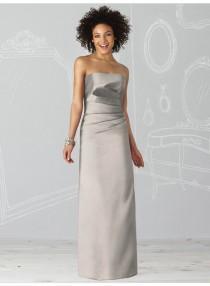 wedding photo - Sheath Strapless Sleeveless Ruching Natural Floor-length Satin Celebrity Dresses WE0962