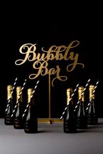 wedding photo - Cocktail de mariage ou de champagne tableau Sign - Bubbly Bar