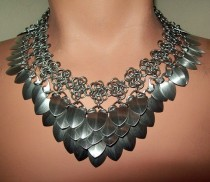 wedding photo - Chainmaille Necklace, Scalemail Choker. Tribal, Bellydance, Elven, Slave Collar, Scale, Gothic, Sexy, Scale Choker