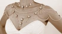 wedding photo - Halskette für die Schultern, Hochzeits viktorianischen Stil, Perlen und Strass, Kristalle, OOAK Brautschmuck, Hochzeit Schmuck,