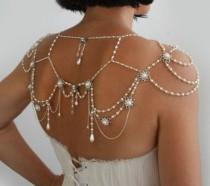 wedding photo - Halskette für die Schultern, 1920 Perlen, Strass, Silber, OOAK Braut Hochzeit Schmuck, The Great Gatsby, Victorian, Made By Efra