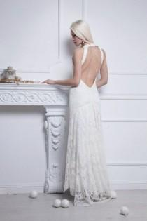 wedding photo - Lace Long Wedding Dress With Open Back In Retro Style - Nastia