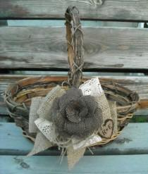 wedding photo - Custom Order For Sadie - 3 Personalized Flower Girl Baskets - Burlap And Lace Wedding Baskets