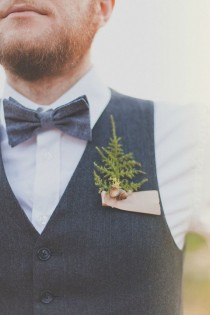 wedding photo - Groomsmen Wedding Boutonniere, Natural Keepsake 'Forest Floor'