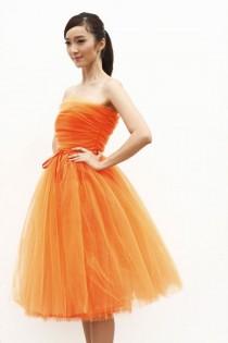 wedding photo - Тюль чай длина юбки эластичный пояс тюль принцесса юбка туту свадьбы юбка в оранжево - NC508