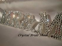wedding photo - Weiße Holz Mr & Mrs Maßgeschneiderte Schild mit Clear Crystal diamontes