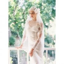 wedding photo - Cap nuptiale, Bridal Veil, Soie Tulle Veil, 1920 casque, postiche nuptiale, voile de mariage, dentelle française, Style Manon 19