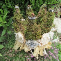 wedding photo - Moss Crown Handmade Shabby Cottage Garden Embellished With Rhinestones, Tattered Ribbon, Flowers By Anita Spero