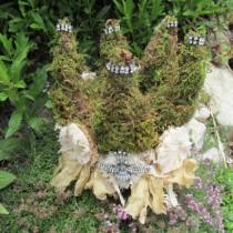 wedding photo - Moss Crown Handmade Shabby Cottage Garden Embellished With Rhinestones, Tattered Ribbon, Flowers By Anita Spero