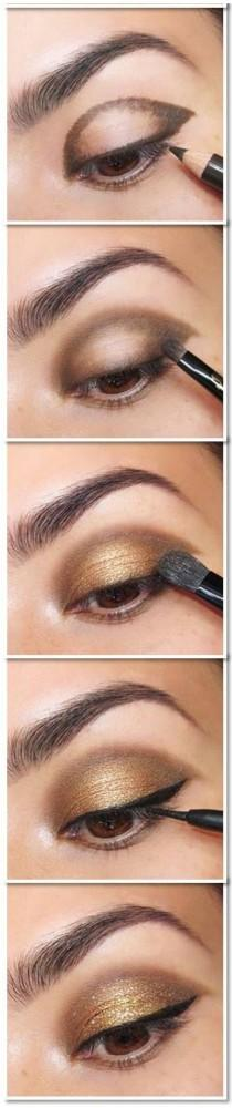 wedding photo - Simple Maquillage Tutoriel d'or des yeux