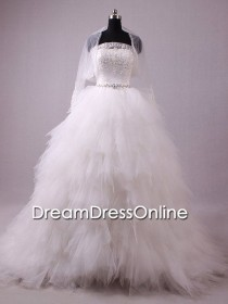 wedding photo - Gorgeous Liebsten Applizierte Perlen Ivory Ivory Tulle Hochzeitskleid mit Rüschen 2014/Bridal Kleid / Brautkleid / Hochzeitsklei
