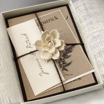 wedding photo - Marfil invitaciones rústicas de la boda, de marfil de la invitación, la invitación rústico de la arpillera, Invitación elegante