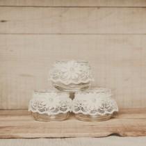 wedding photo - Votives Encaje, piezas centrales de la boda, de la boda del cordón, cordón Velas, boda rústico, boda del granero, de encaje deco