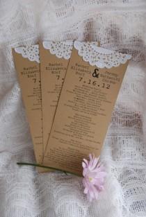 wedding photo - Vintage Lace Custom Programs boda del tapetito o menús-Guardar la fecha - otoño, otoño, Navidad - Partido de compromiso - tarjet