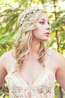 wedding photo - Wedding Accessories, Bridal Headpiece, Wedding Flower Crown, Ivory Flower Crown, Rustic Head Wreath, Wedding Headband, Bridal Hair