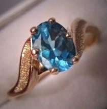 wedding photo - Недвижимости Vintage Blue Topaz Ring 14K Gold ретро-обручальное кольцо