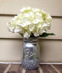 wedding photo - 3 Shining Silver Gloss pintado apenado de Mason tarros Jarrón vintage central de la boda de la decoración de la bola Kerr Boda r