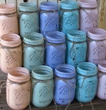 wedding photo - 20 tarros de albañil, Pelota, tarros pintados Mason Jars sus colores, floreros, piezas centrales de la boda rústica, Duchas, Par