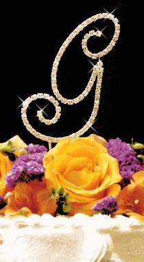 wedding photo - نهضة كريستال حجر الراين رسالة كعكة الزفاف توبر - الذهب